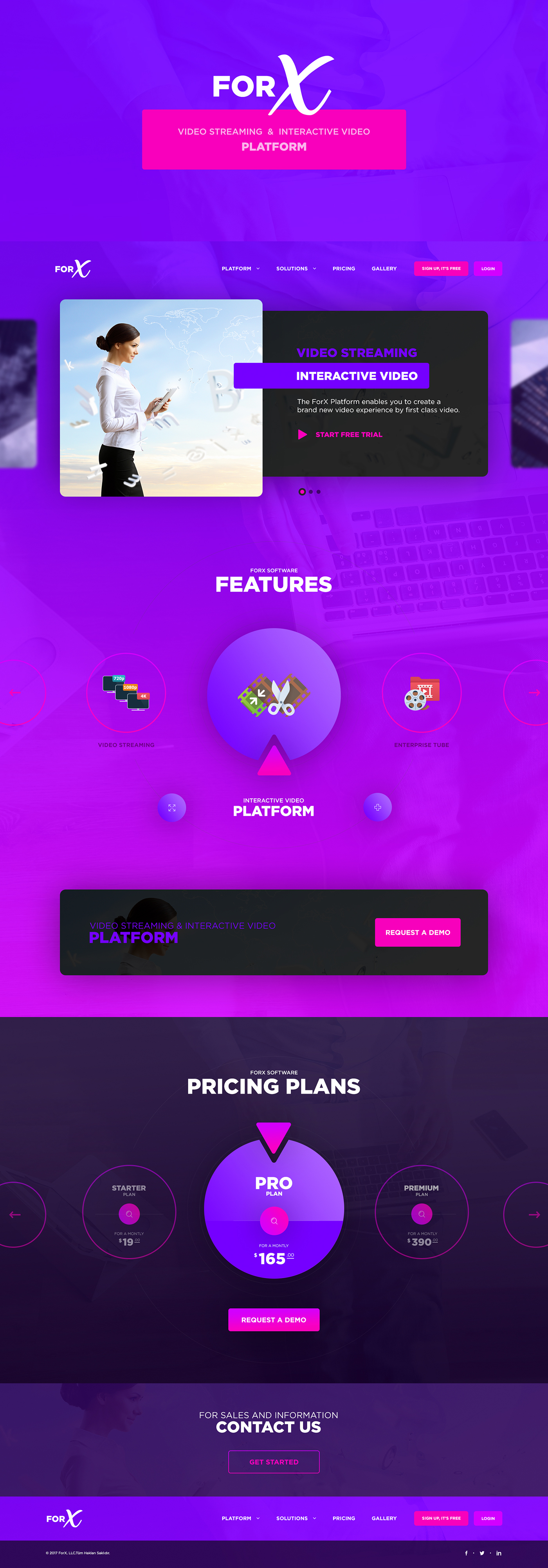 UI ux video Web Streaming concept creative design page