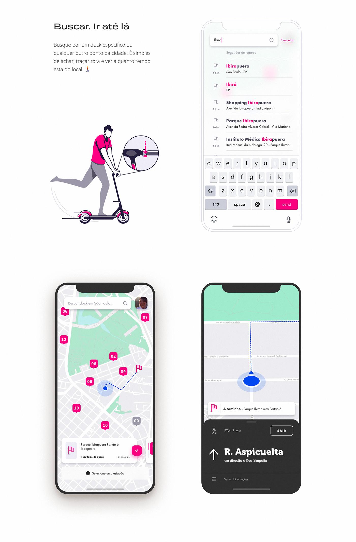 bike sharing Itaú tembici bike itau app ui design Bike map
