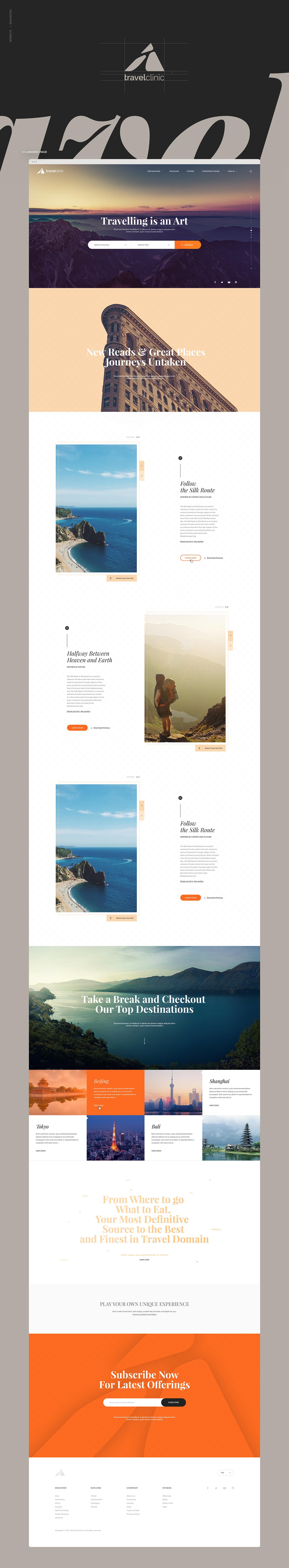 Website UI ux Travel Website flat design ui design art direction  Travelling Website Design typography