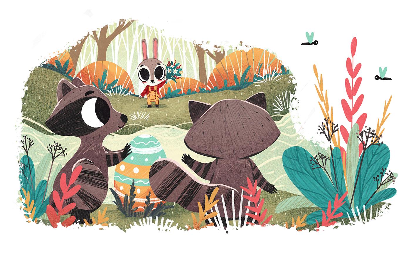 book book illustration bunny characters children's book Easter easter eggs fairytale illustration art rabbit