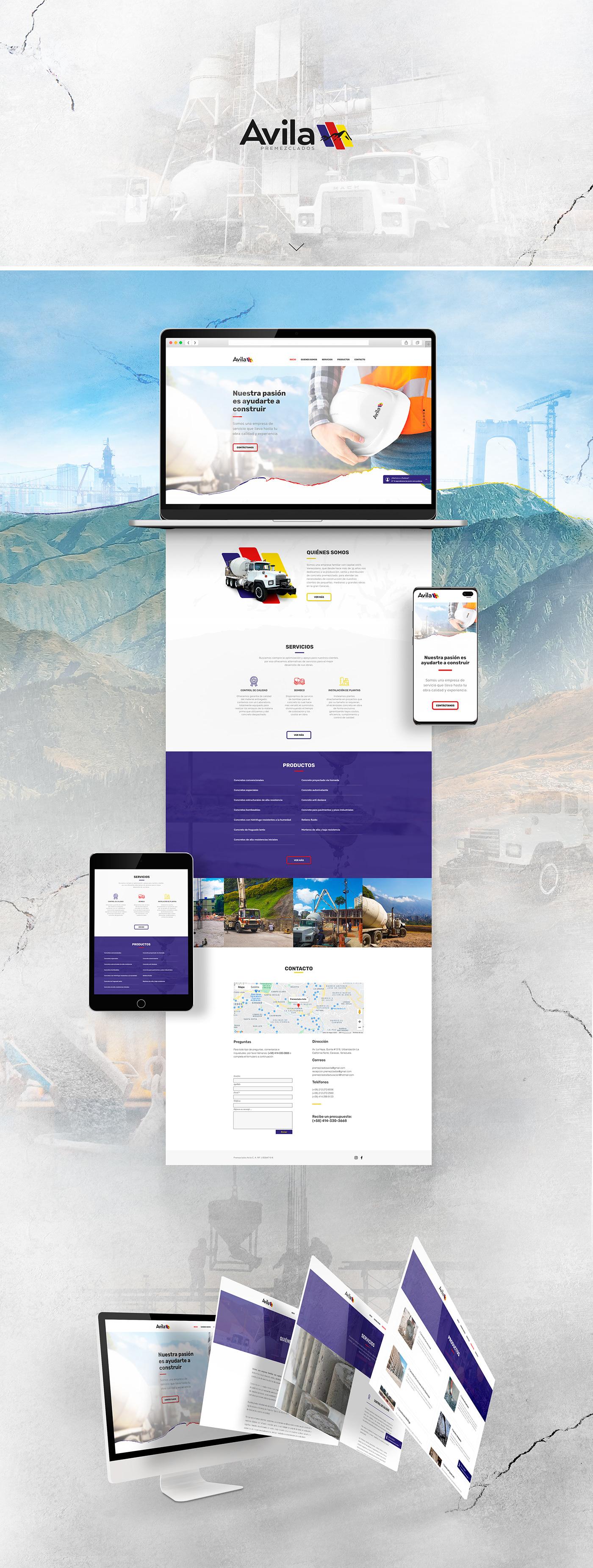 concrete construccion construction diseño gráfico Diseño web graphic design  services Truck Web Web Design