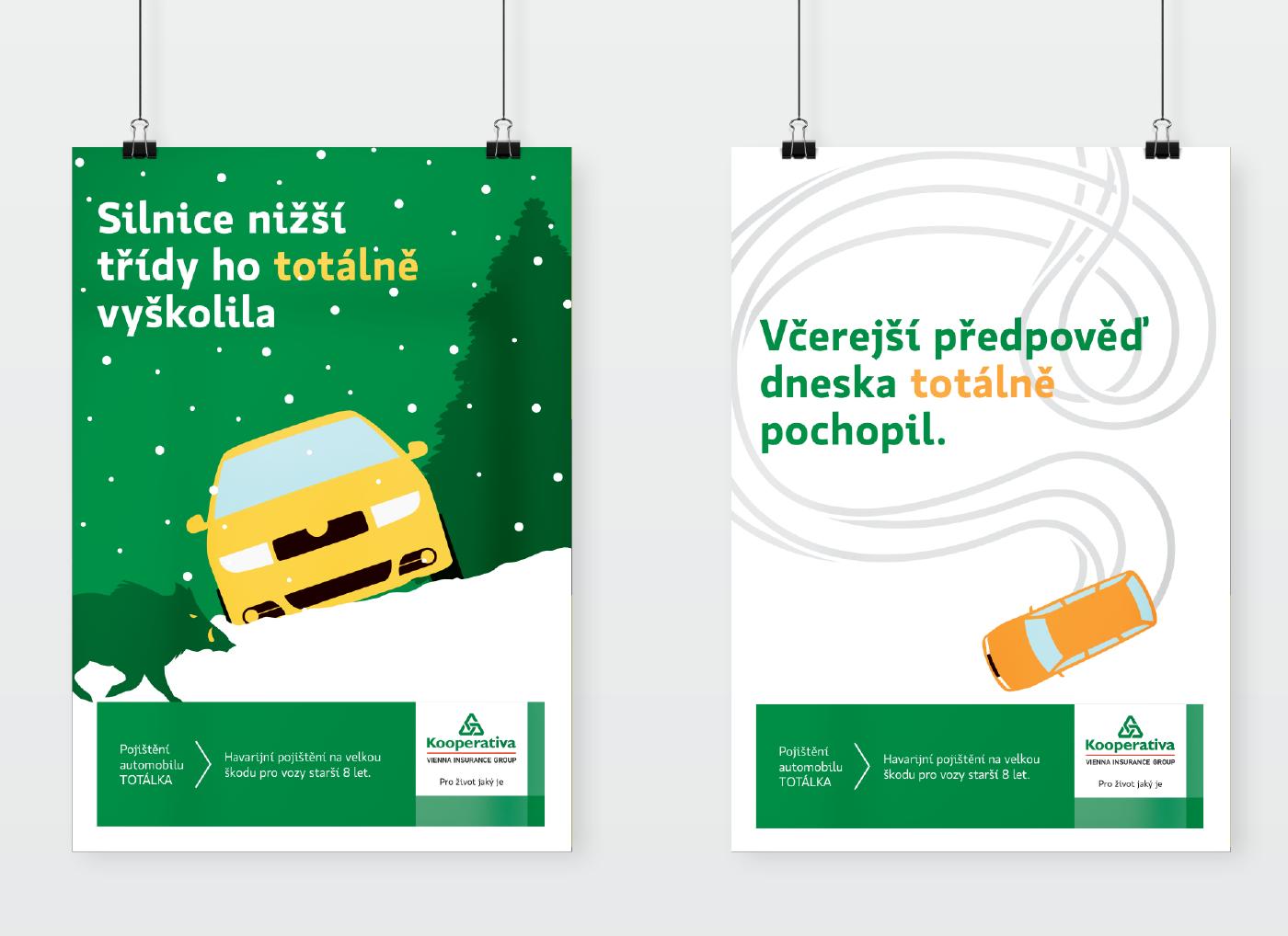 car insurance green Kooperativa funny winter crash
