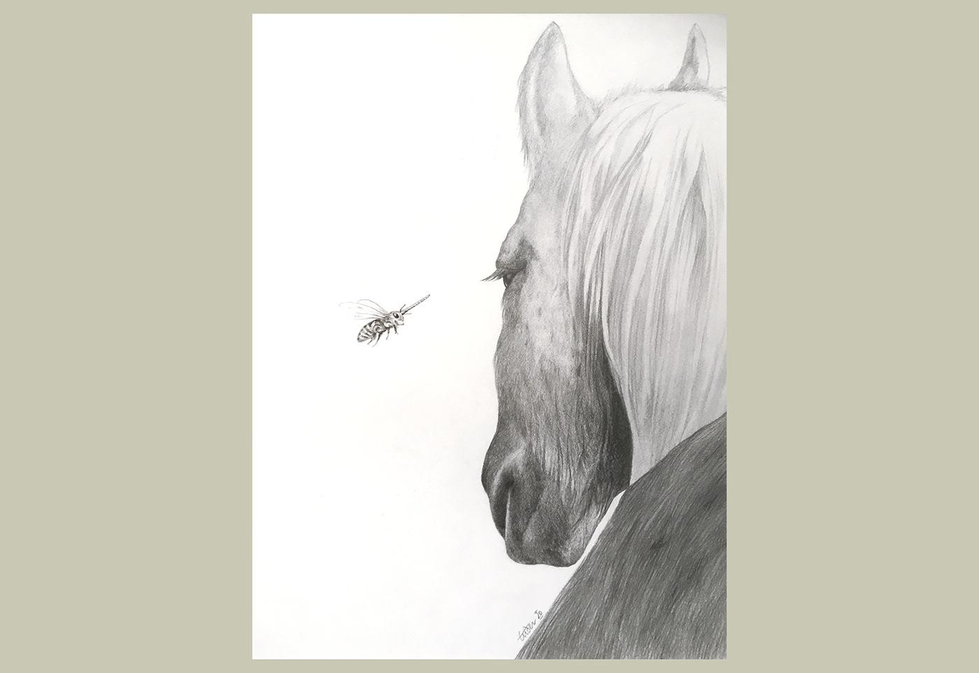 Illustration surréaliste montrant la rencontre imaginaire entre un cheval et une abeille licorne.