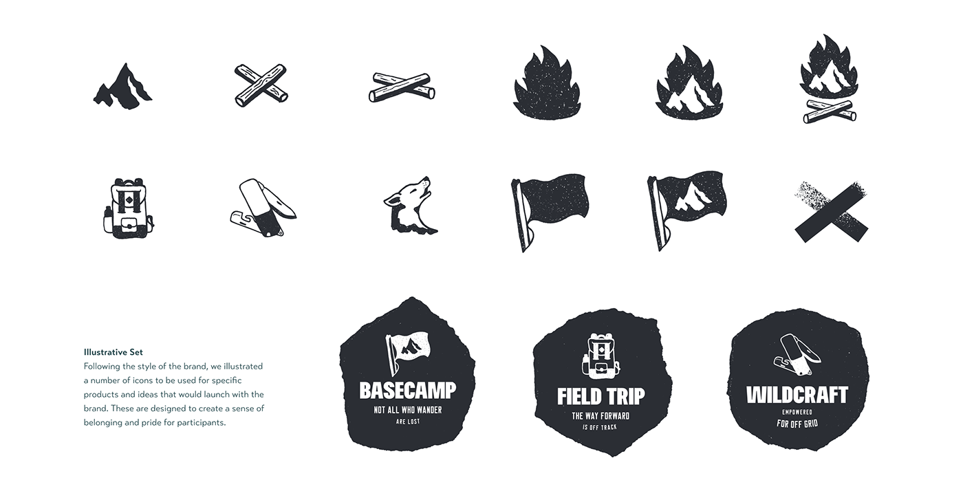 brand outdoors camping youth teenage textured typography   Campfire logo ILLUSTRATION