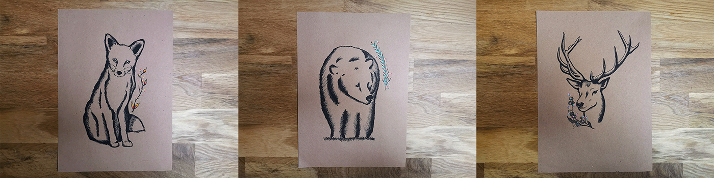 Printed illustrations of a fox, bear and deer on kraft paper