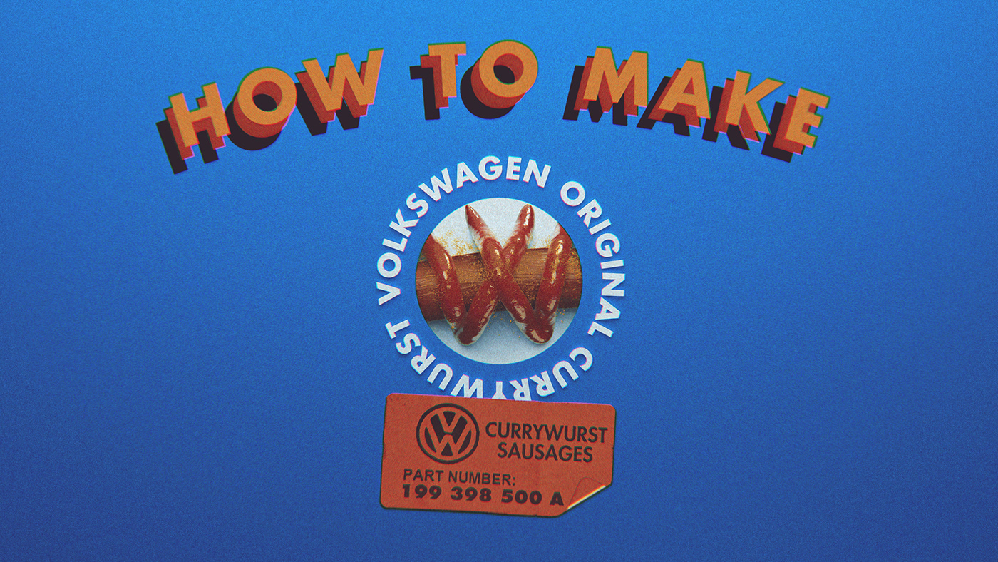 HOW TO MAKE a Volkswagen Currywurst? Motion opening frame and title.