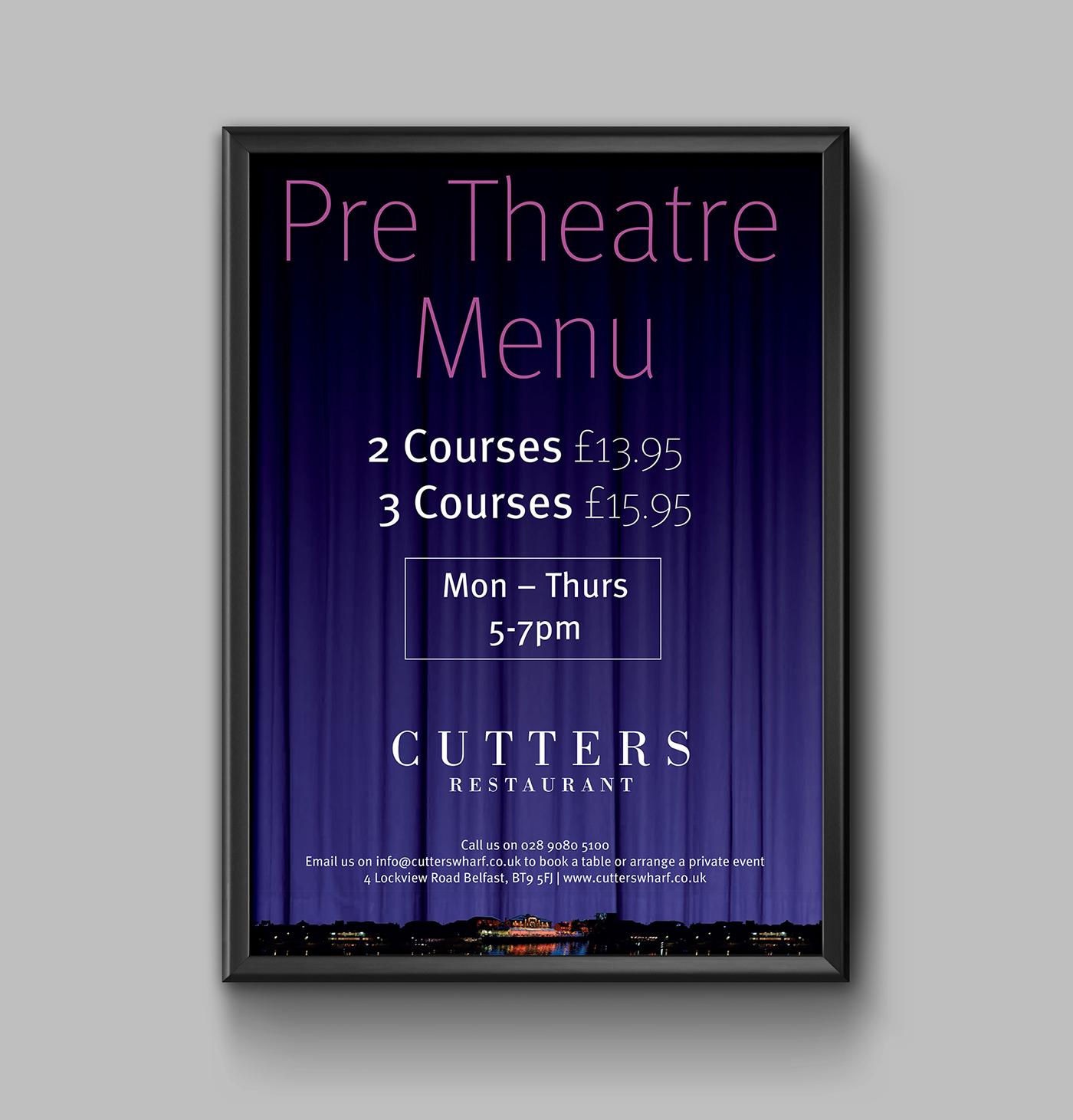 resturant poster menu Food  river blue purple