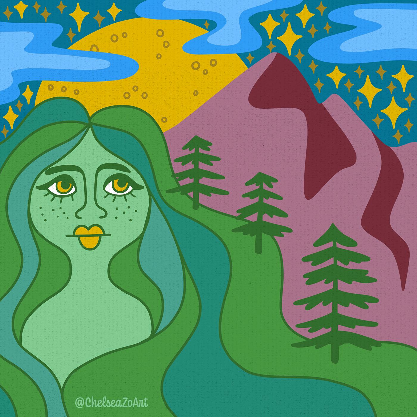 groovy hippie Mama mother mountain mushroom Nature Retro woman