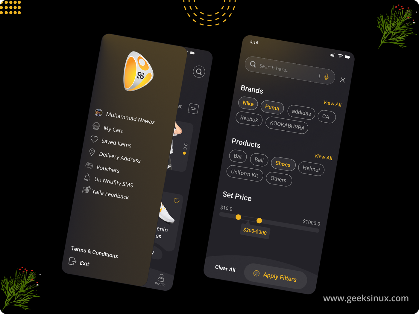 ecommerce app geeksinux graphic designing Interaction design  logo designing product designing shopping app Sports Shop App ui kit web designing