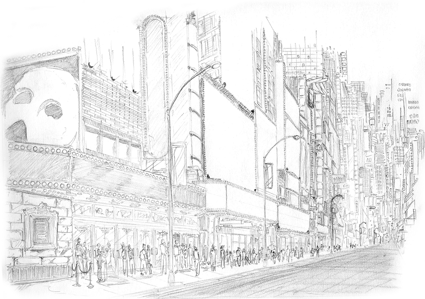 annual report ILLUSTRATION  Drawing  ink new york city higher education Fordham University sketch