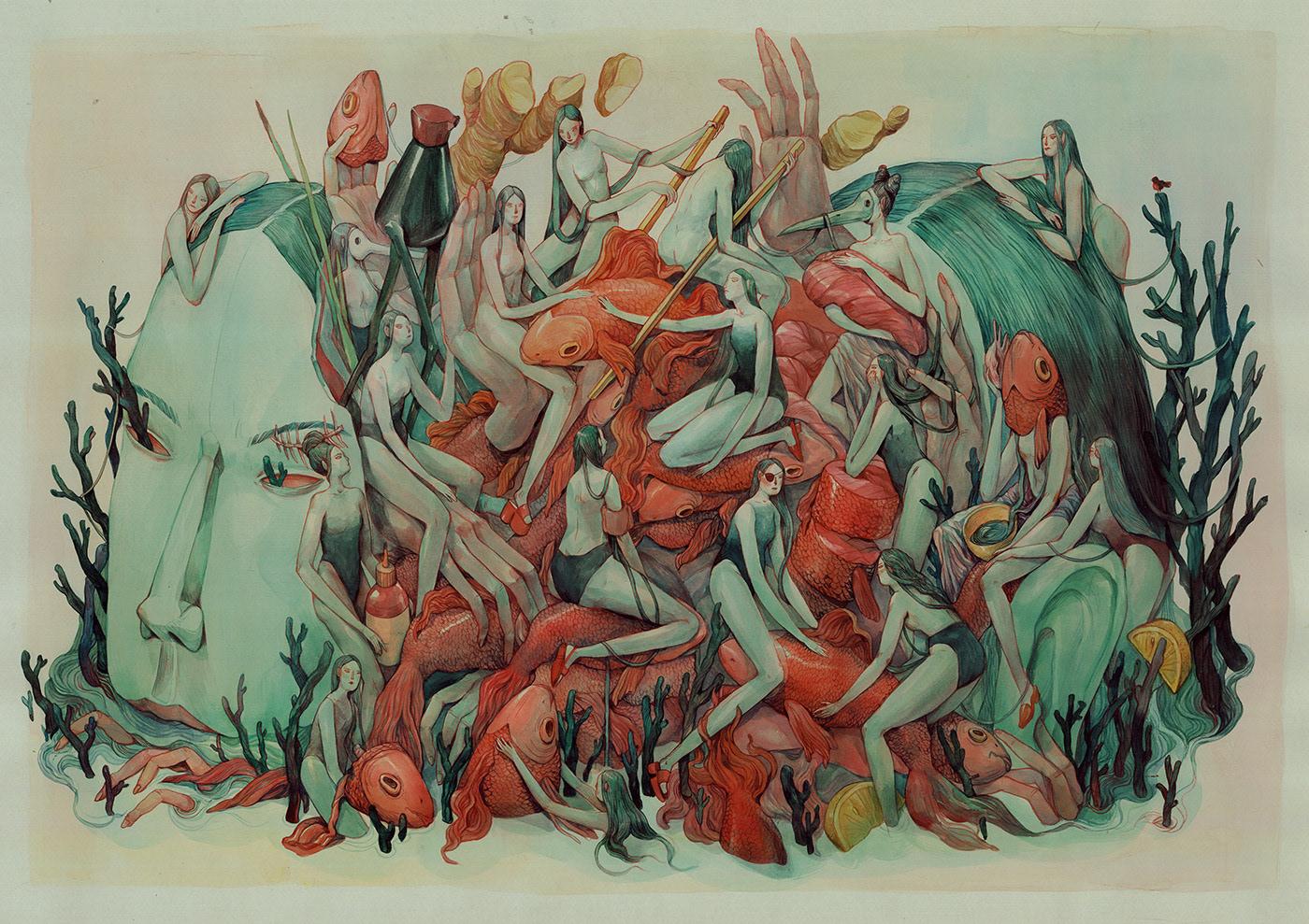 Image may contain: drawing, cartoon and painting