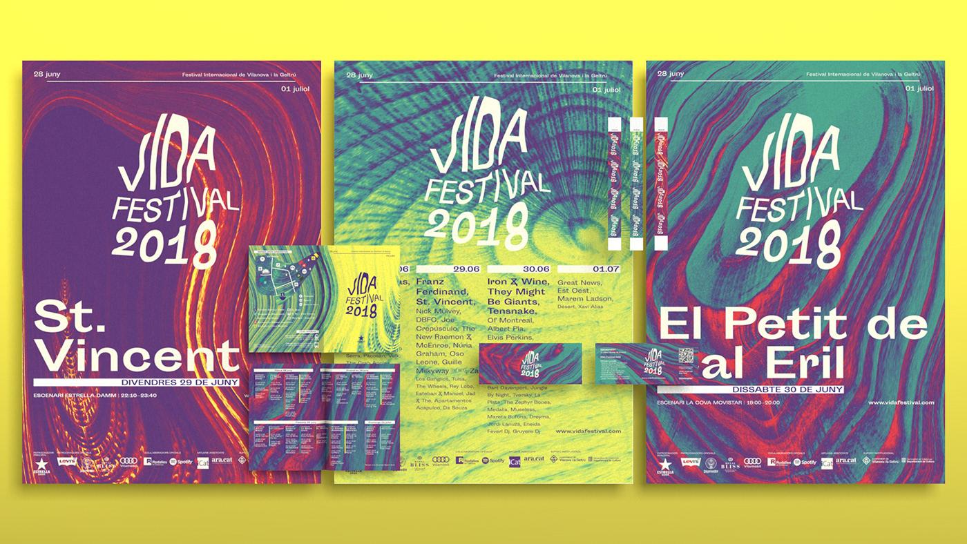 Vida festival branding  poster logo Music Festival experimental distortion organic digital rebranding