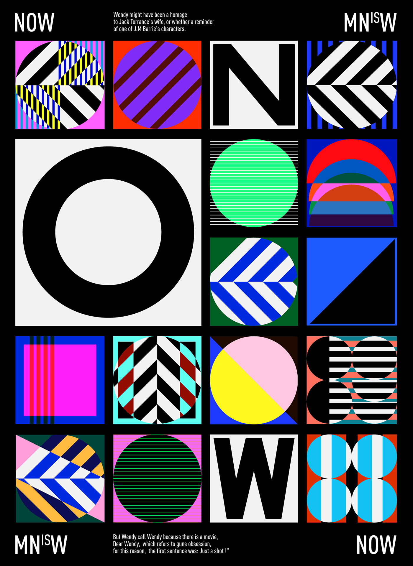 Poster composed of symbols, patterns and lettering