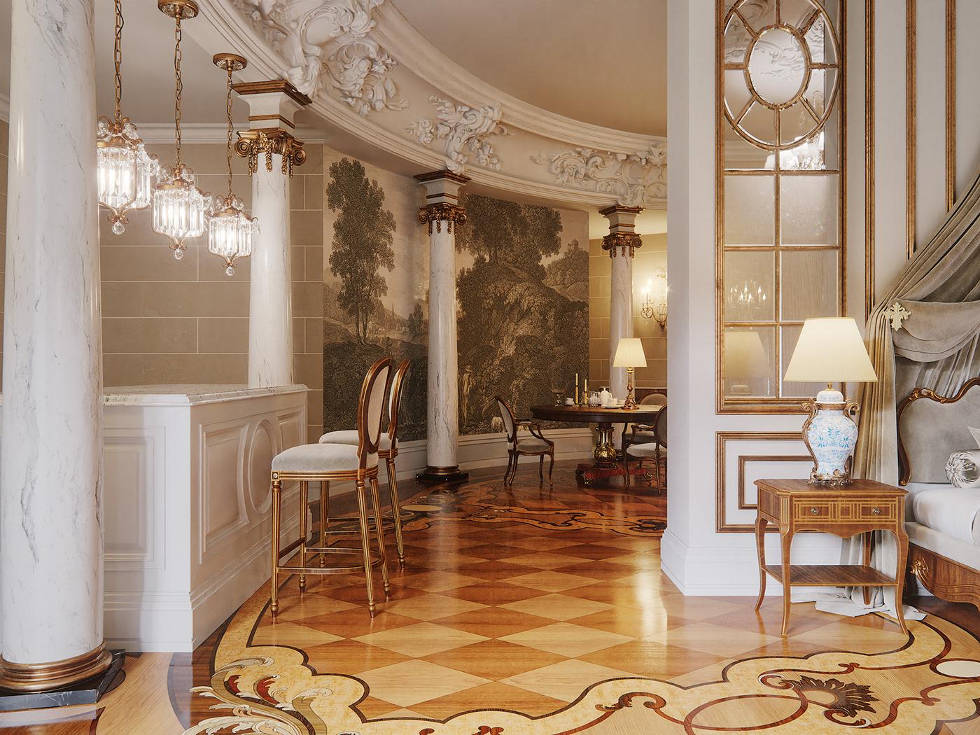 Interior kiev Barocco clasics bedroom provasi Marble