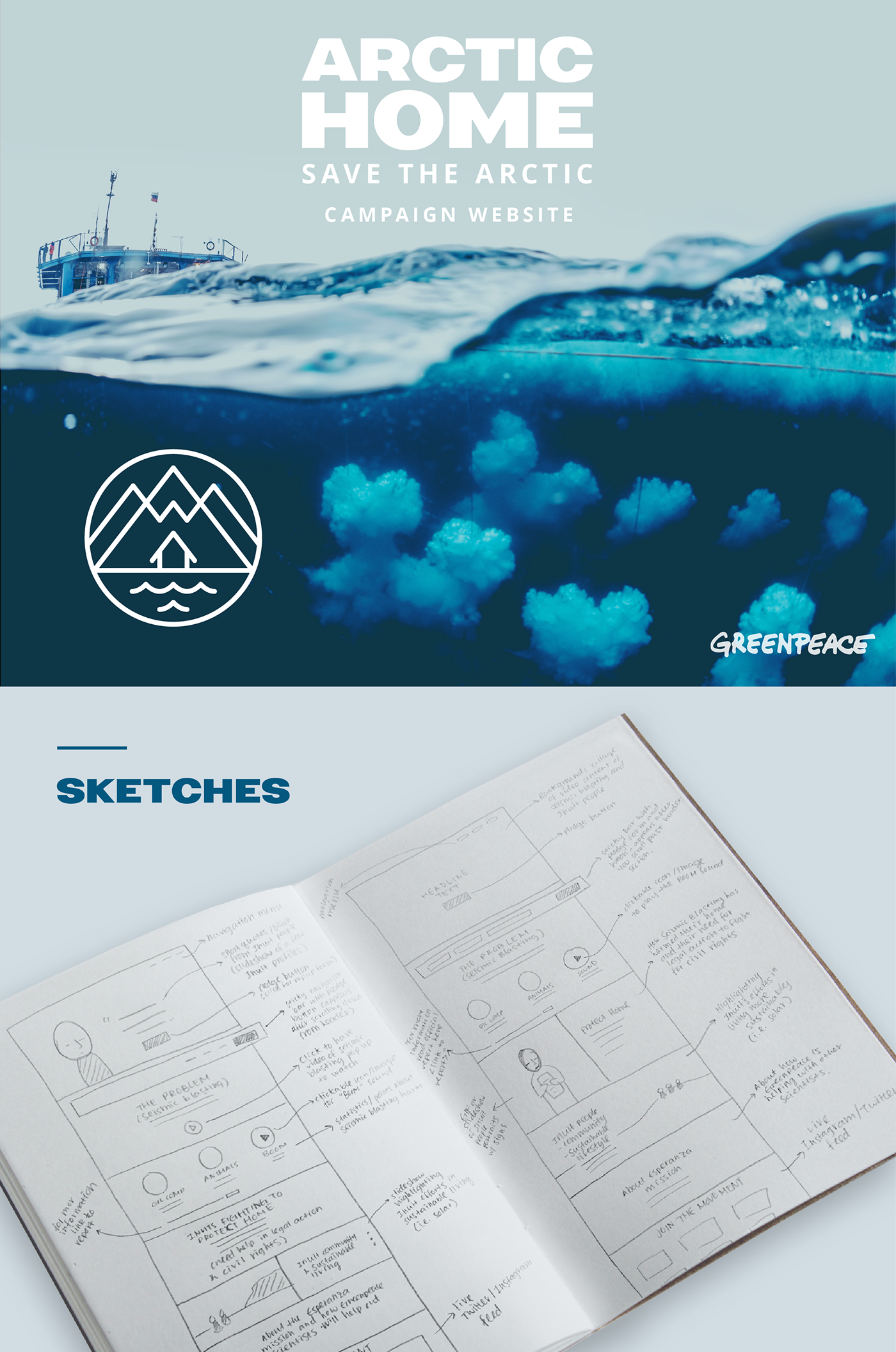 Greenpeace arctic home website design and style guide on for Arctic house design