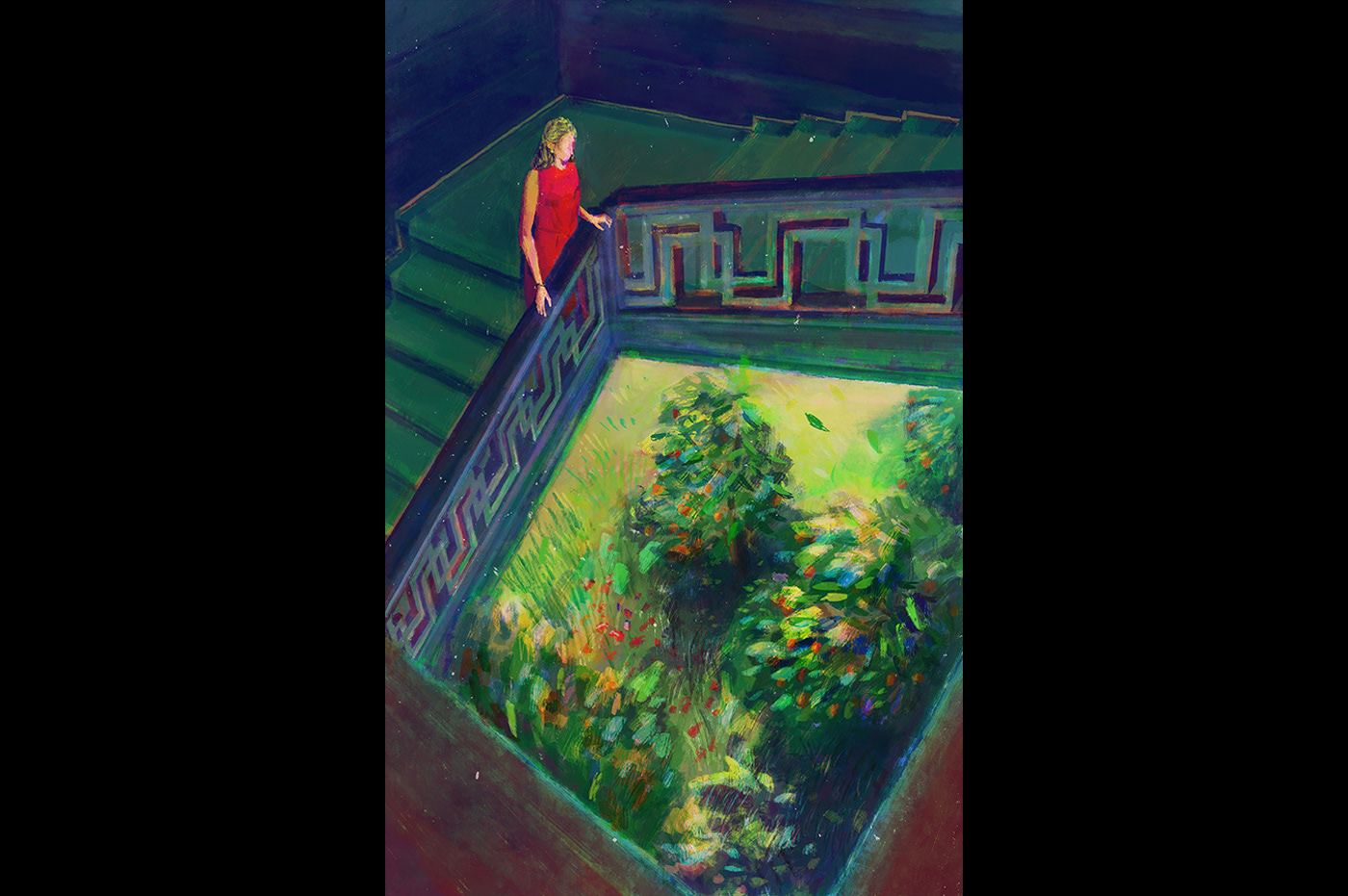 A woman in a grand house going down stairs, looking down to an orchard at the bottom of the stairs.