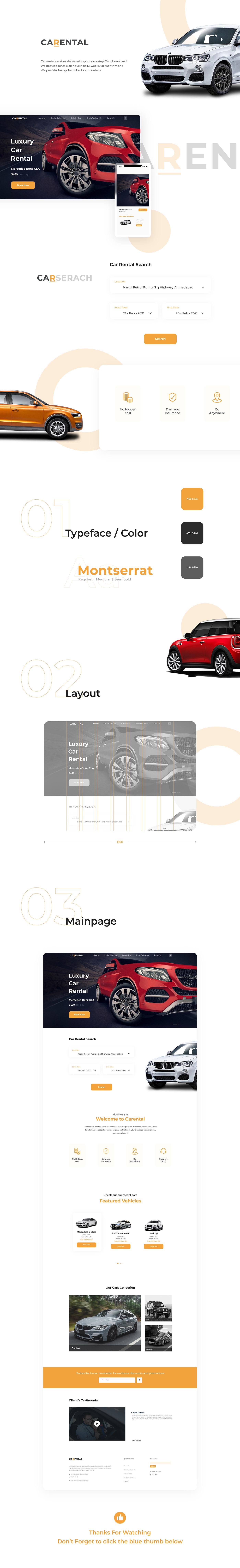 Car rental design landing page UI ux Website car concept cretive rental