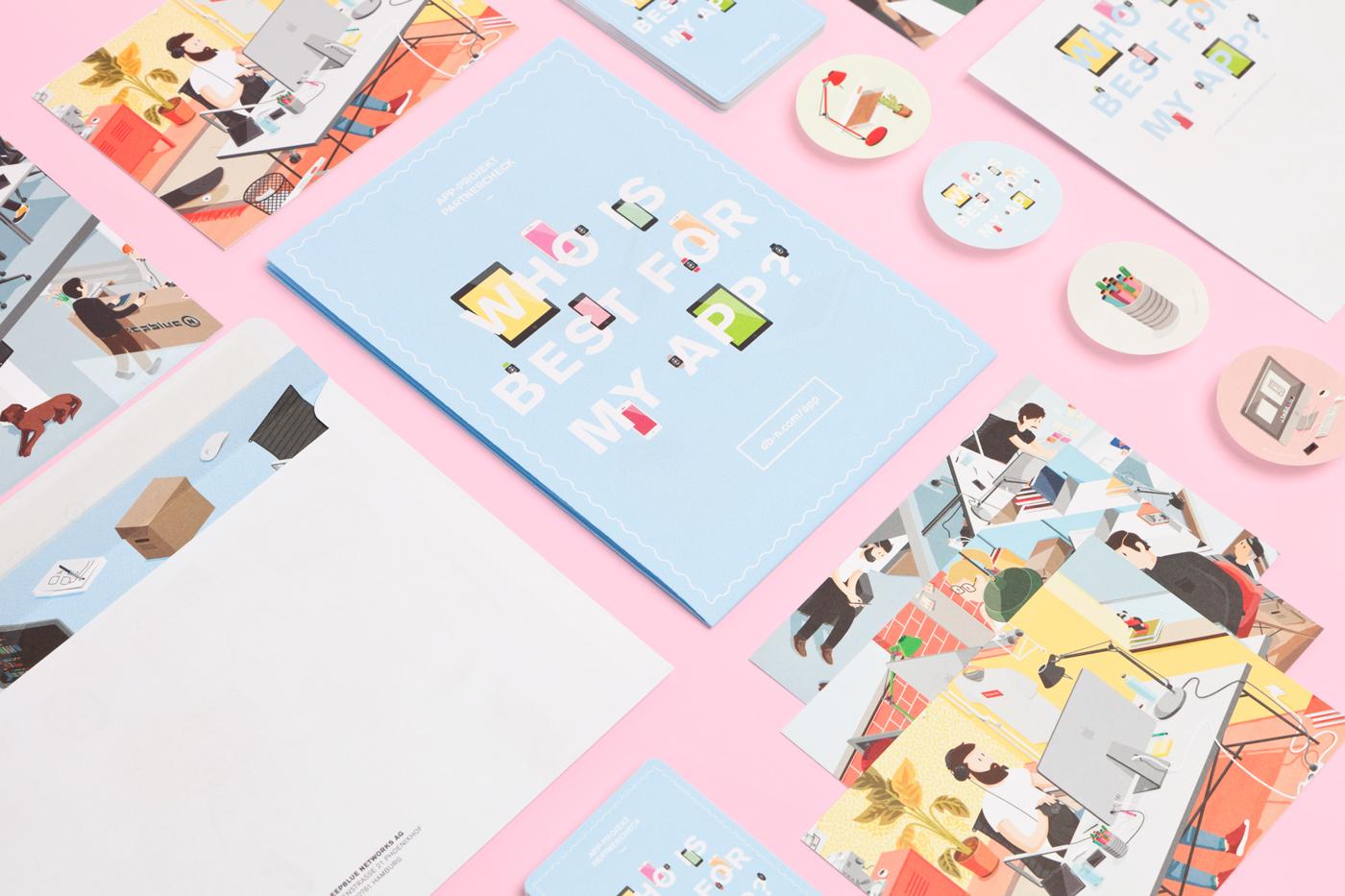 app WhoIsBest vector Isometric envelope folder sticker postcards card game stamps deepblue networks kjosk