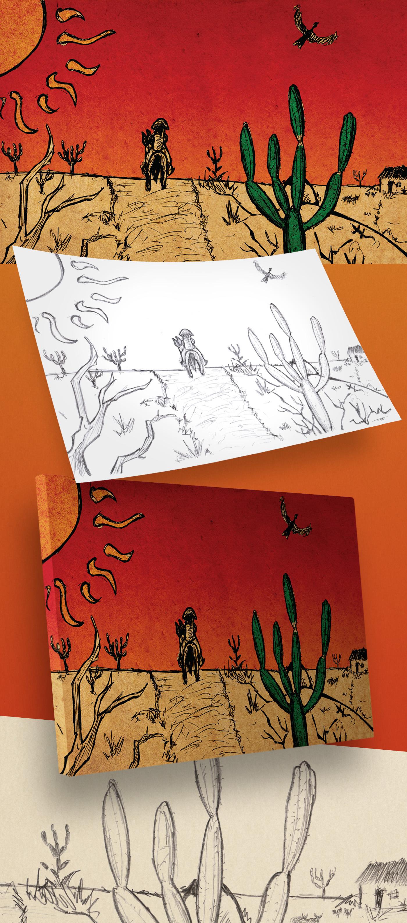 ilustration pencil design Ilustração sertão