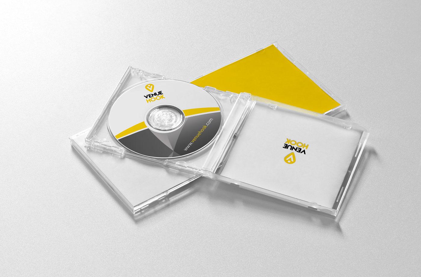 graphic cd cover print venue hook design Event online wedding