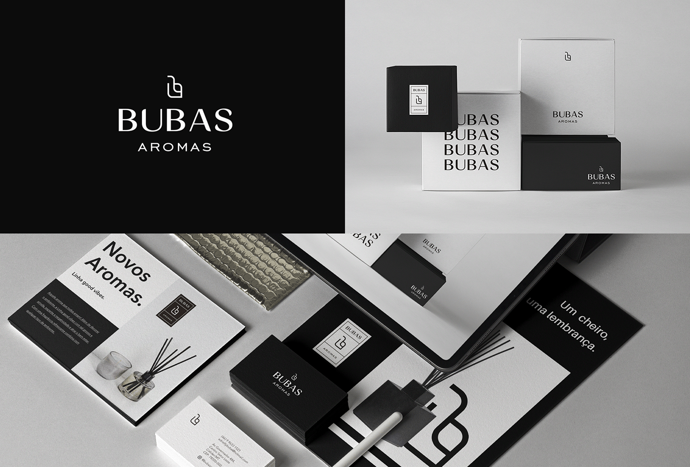 A imagem contém o logo da Bubas Aroma, a representação da marca em caixa e em outros mockups.