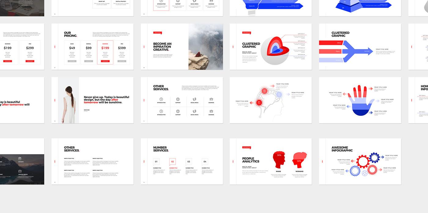 Powerpoint Keynote template minimal UI ux creativemarket presentation