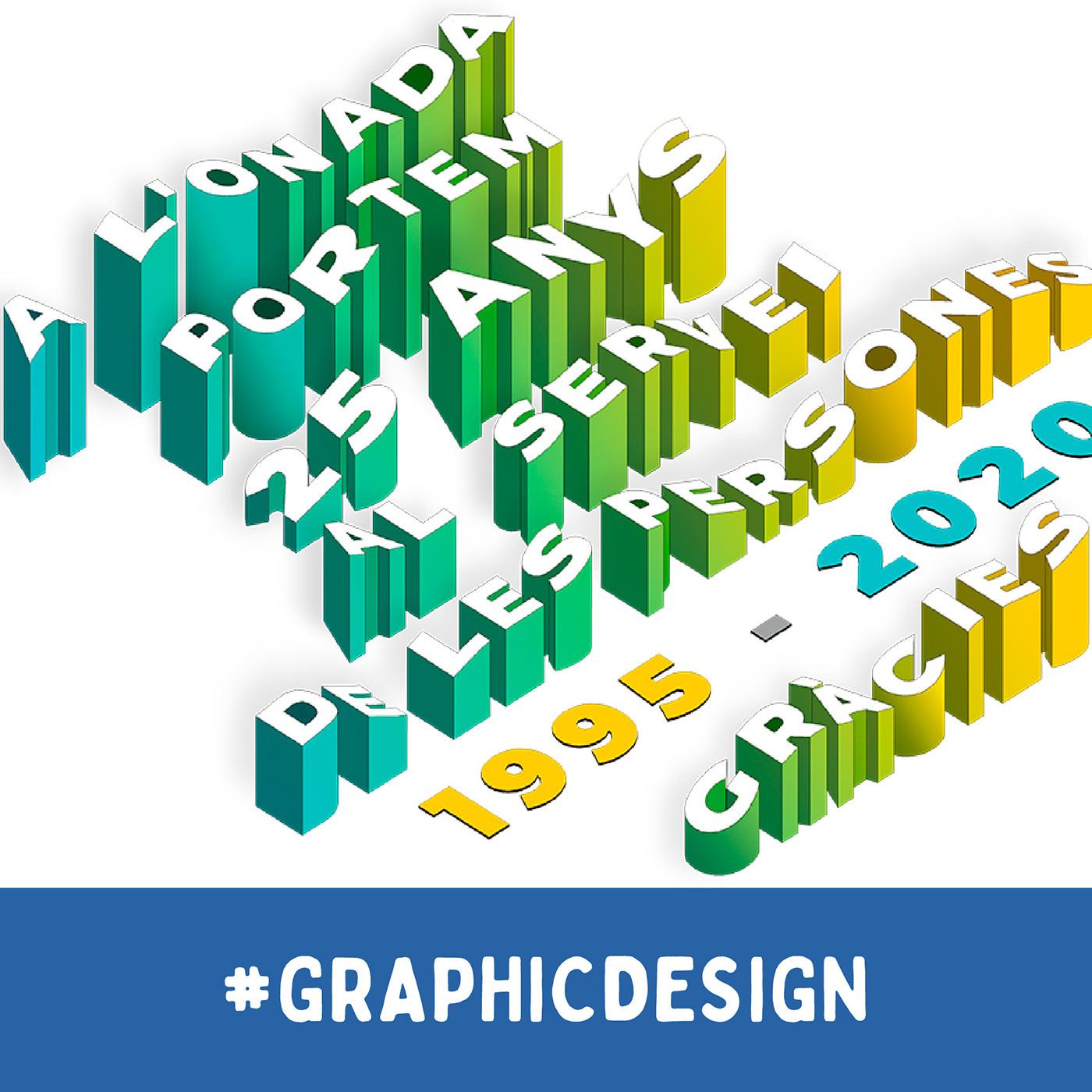 Isometric 3D Typography (25th anniversary L'Onada)