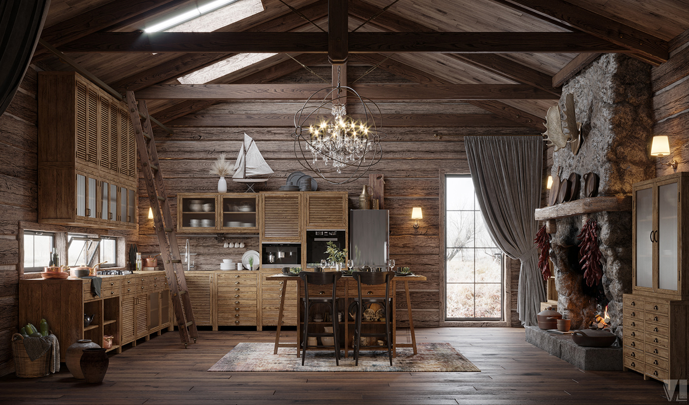 3dmax CoronaRender  kitchen design visualization VizLine Studio LOFT Сhalet photoshop furniture