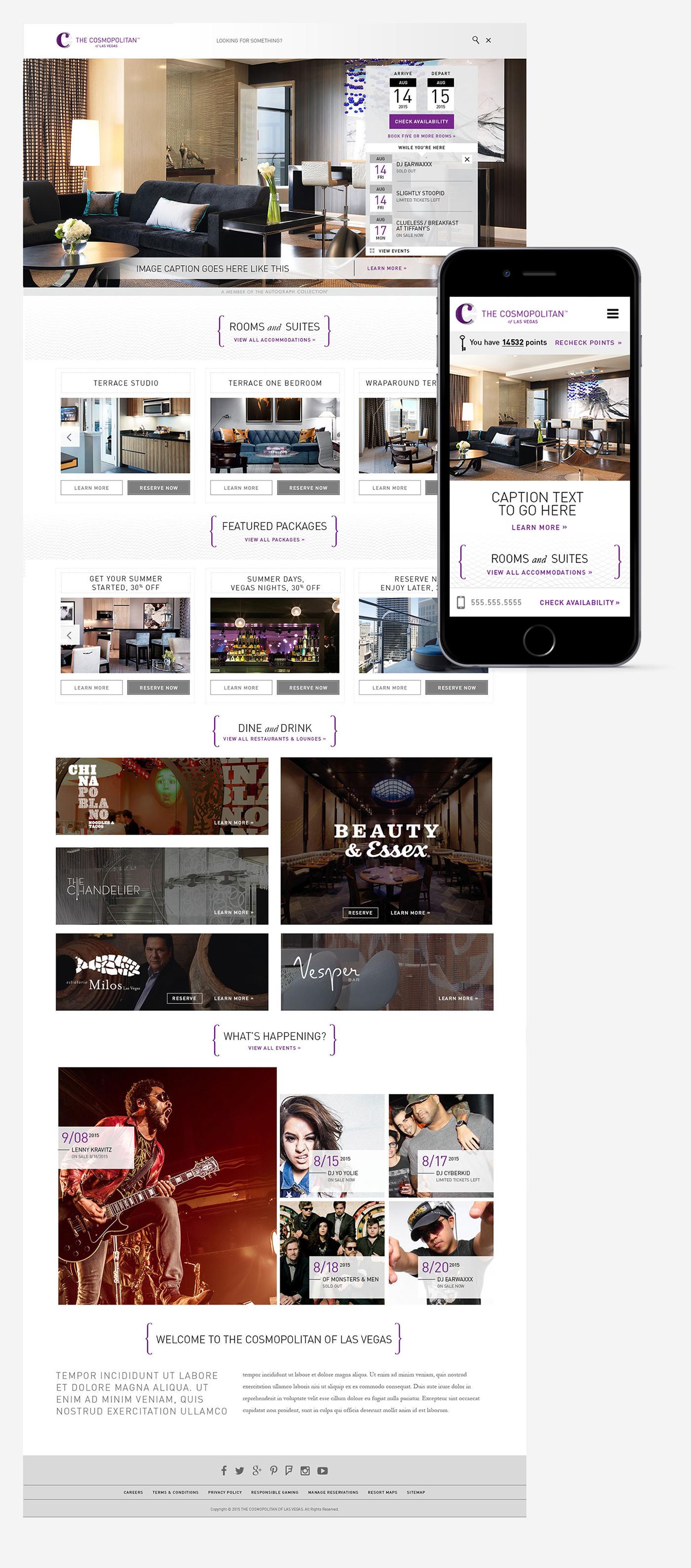 Website design Responsive resort casino Las Vegas hotel UI ux Webdesign