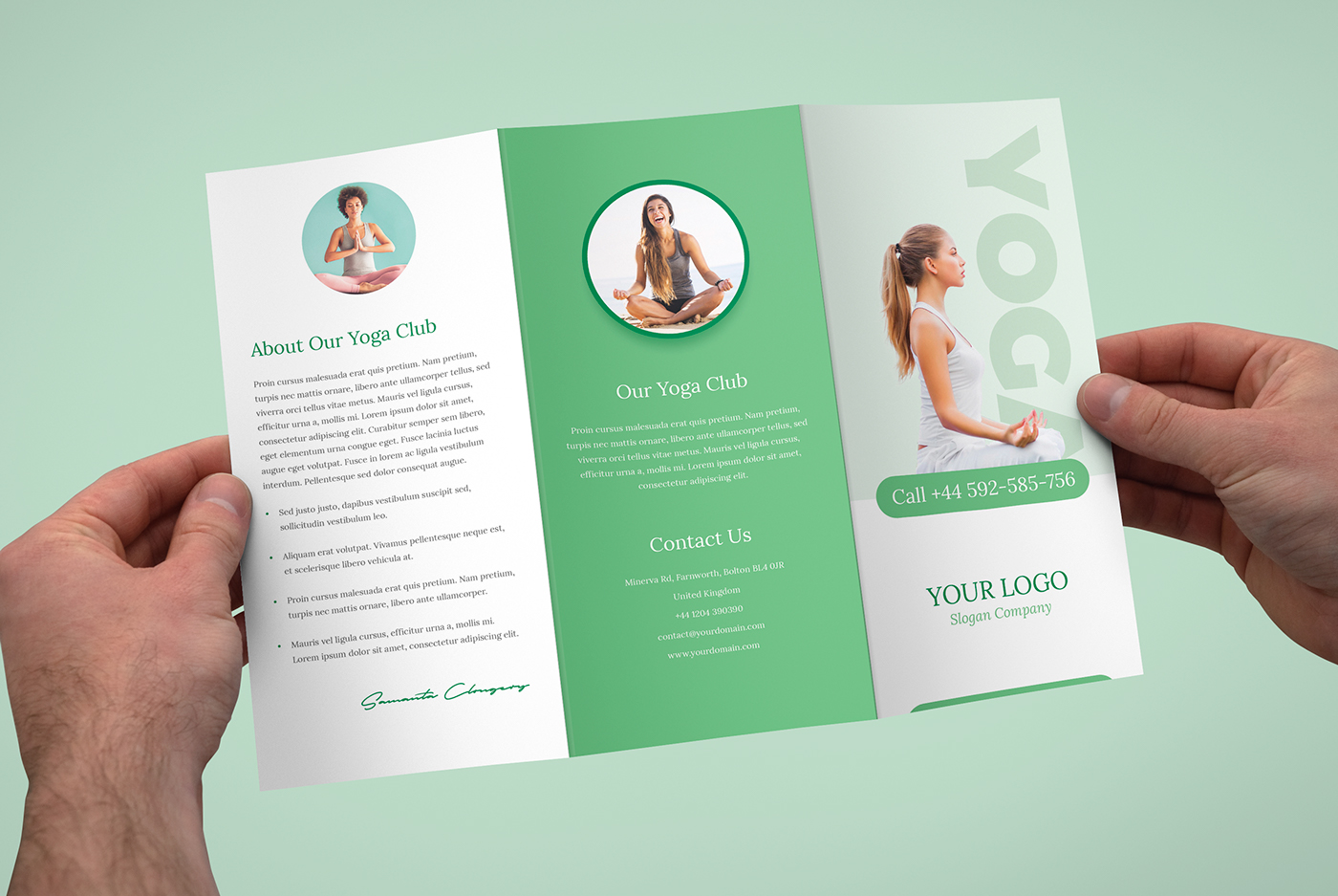 Brochure yoga tri fold template on behance for Yoga brochure templates free