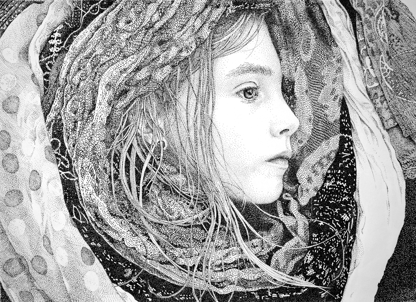 stippling Pointillism black ink ink paper draw child childhood fantasy conceptual allegory portrait dots
