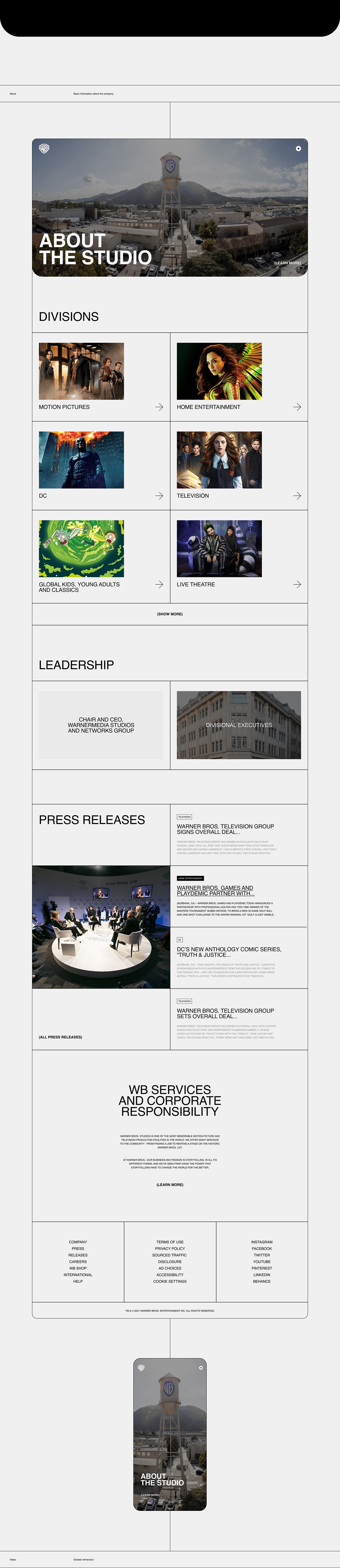 concept Entertainment minimal typography   UI uidesign ux warner bros Web Webdesign