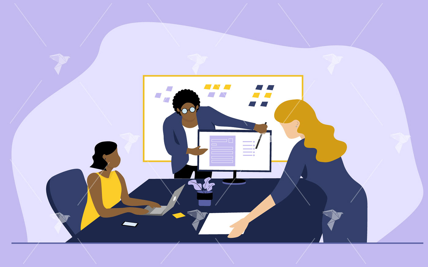 brainstorming collaborating ILLUSTRATION  Illustrator Office people team TEAMWORK Work
