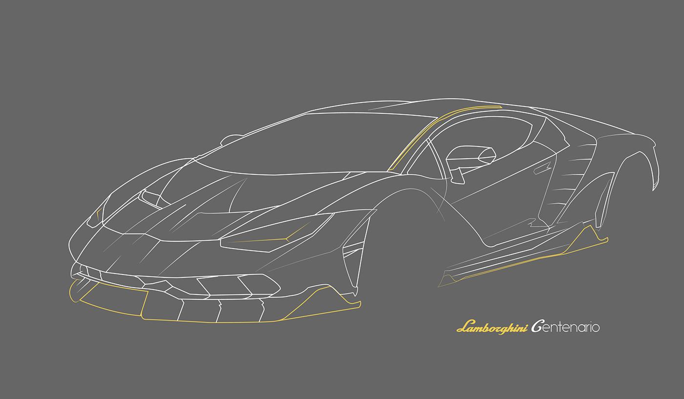Lamborghini Centenario Line Art On Behance