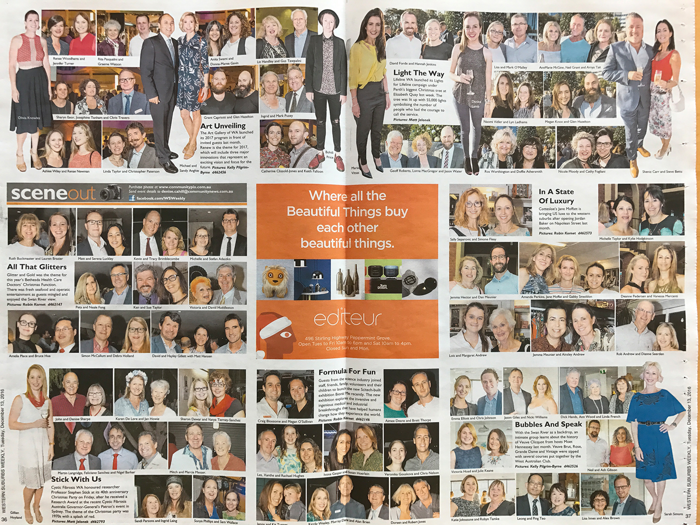 Editeur store launch on behance cheeky press ad in the middle of the western suburbs weekly social pages reheart Image collections