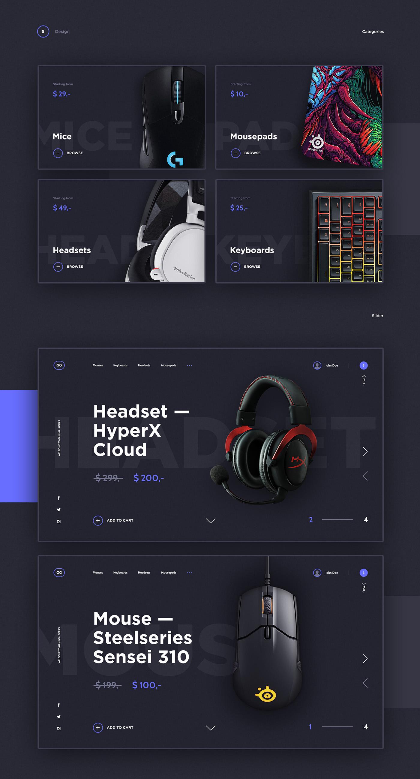 e-commerce Gaming webshop concept Gamer shop store UI ux flat