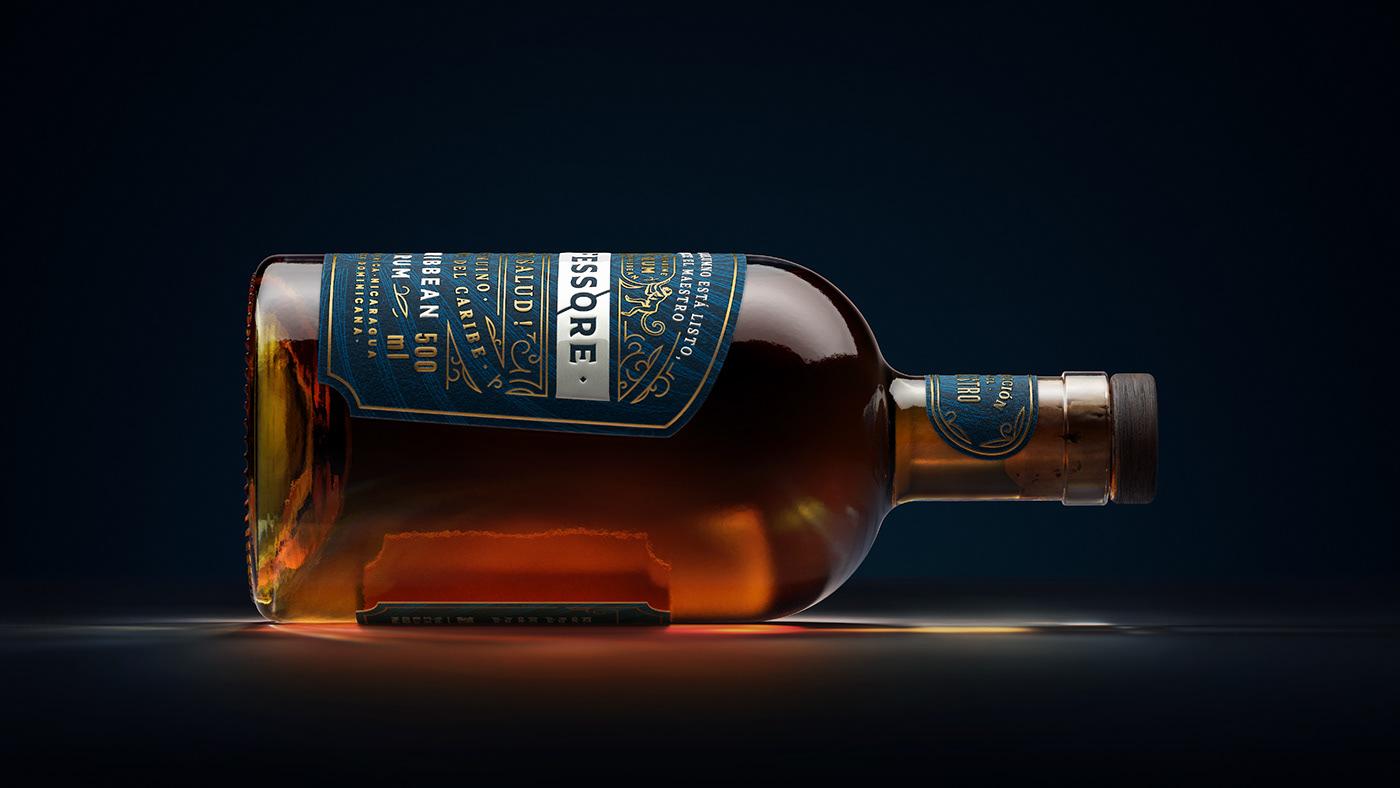 alcohol amoth amothstudio Label Packaging Rum caribbe monkey Professor spirit