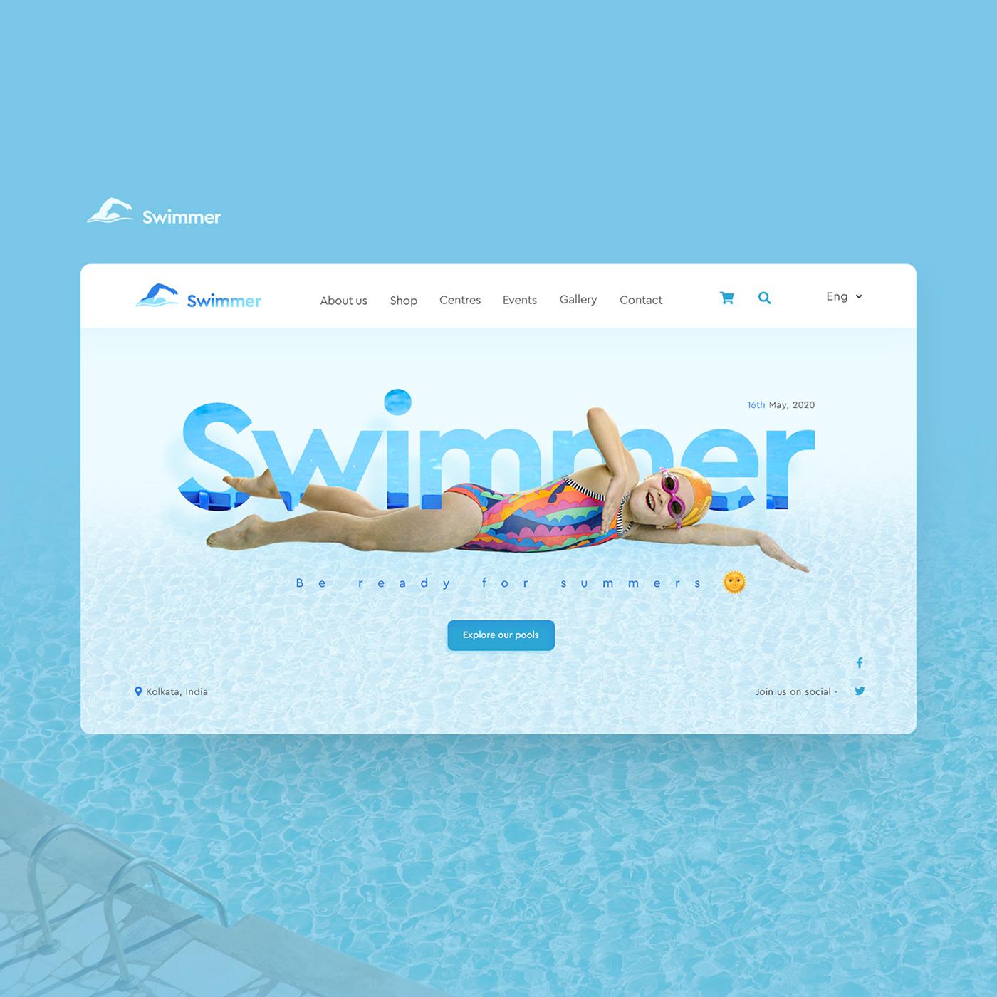 Clean UI design designer digital marketing swim swimming ui design UX design Web Design  web development