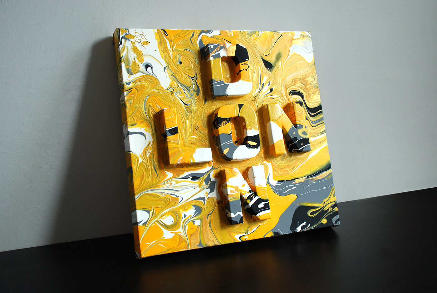 London Marble acrylic pour paint lettering typography   installation laser cut 3D type