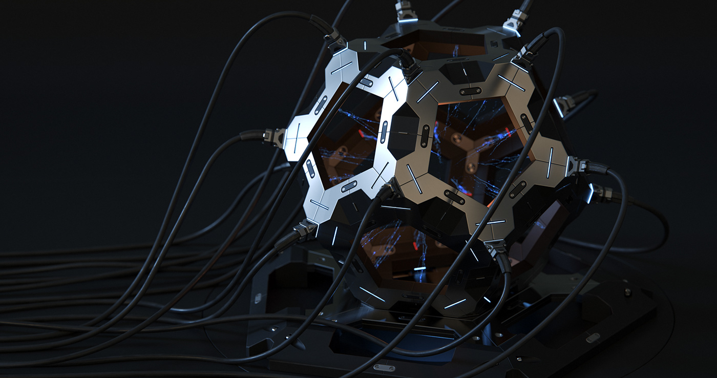 dodecahedron,octane,cinema 4d,Raphael Rau,Silverwing,Sci Fi,cables,metal,hyperrealism,maxon
