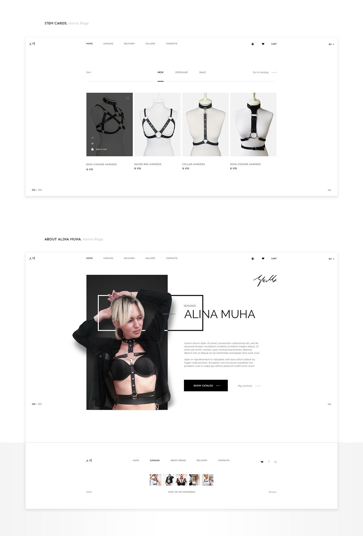 online store web-design UI ux Fashion  modern erotic harness animation  interactive