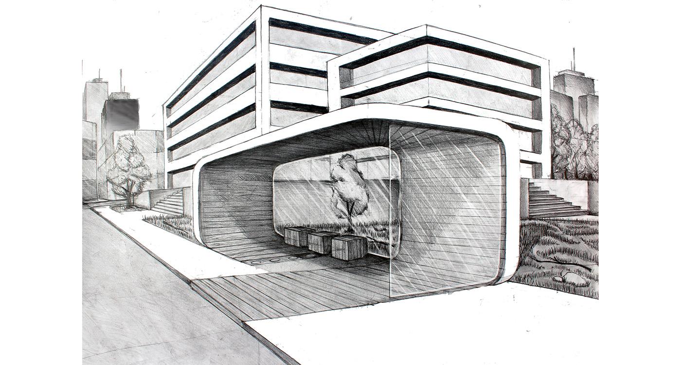concept design visualisation industrial design  bus stop copper modern 3ds max