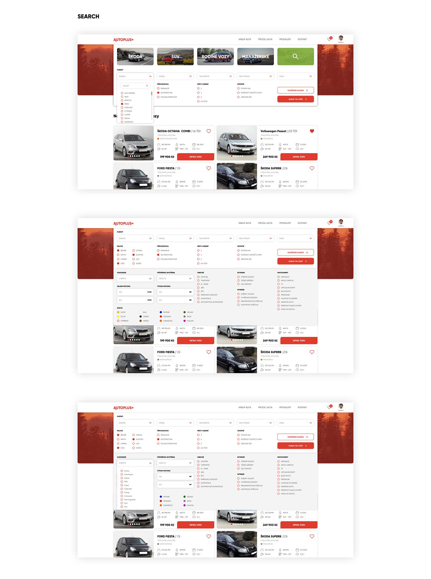 car Cars homepage UI used used car ux ux/ui Web Webdesign