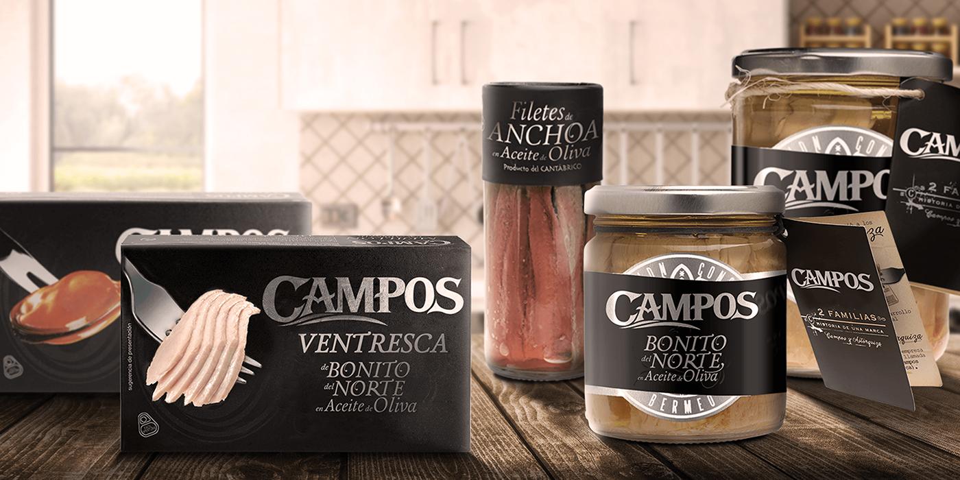 campos atun bonito del norte natural mar branding  Packaging