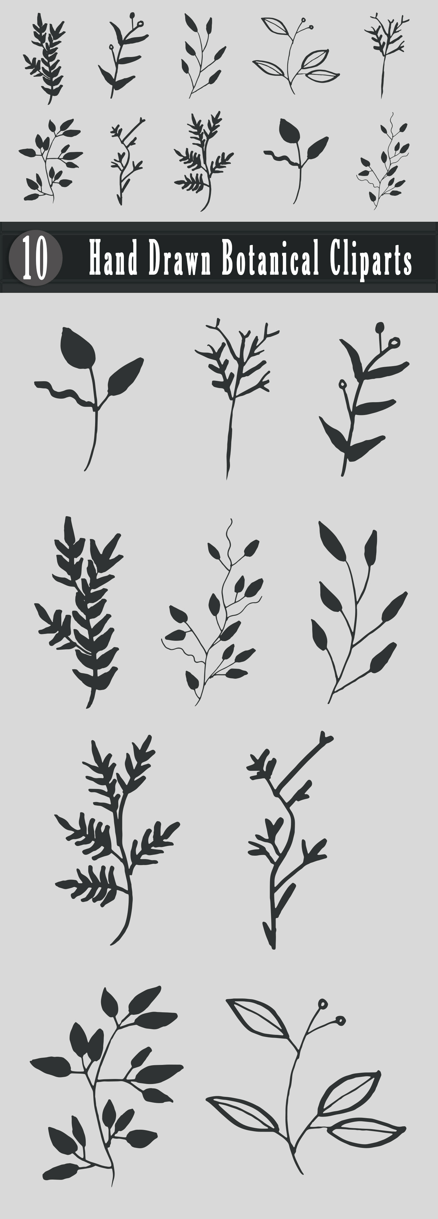 Free Handmade Botanical Cliparts is a creative and lovely pack of handmade leaves for your projects.