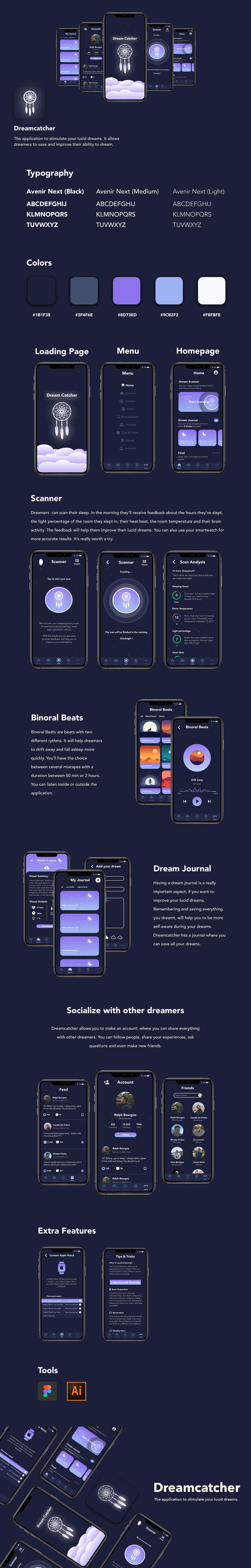 app app design Dream app Dreaming lucid dreams mobile UI ui design ux UX design