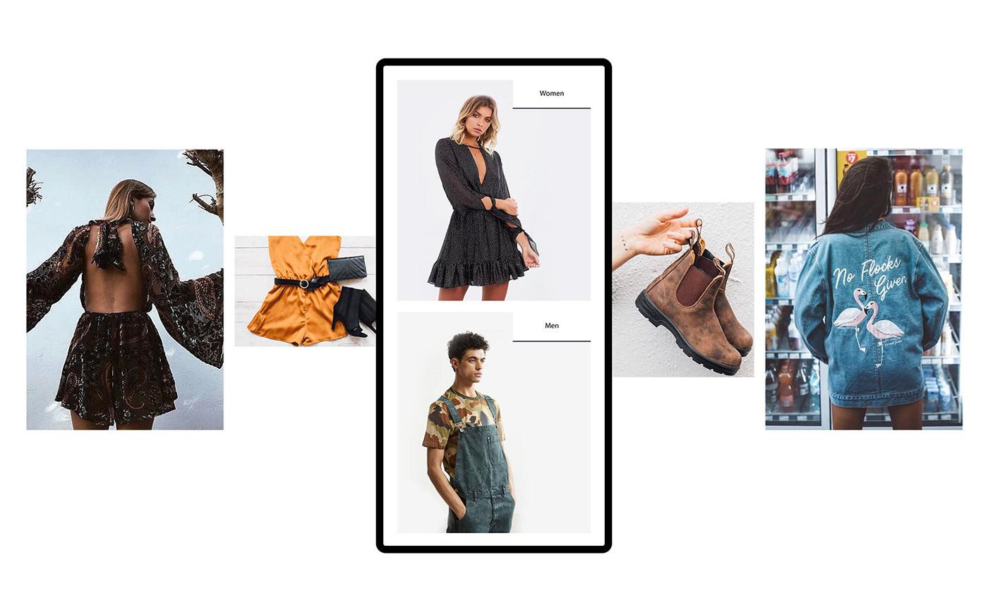 clean Clothing e-commerce Fashion  instragram minimal typography   youth