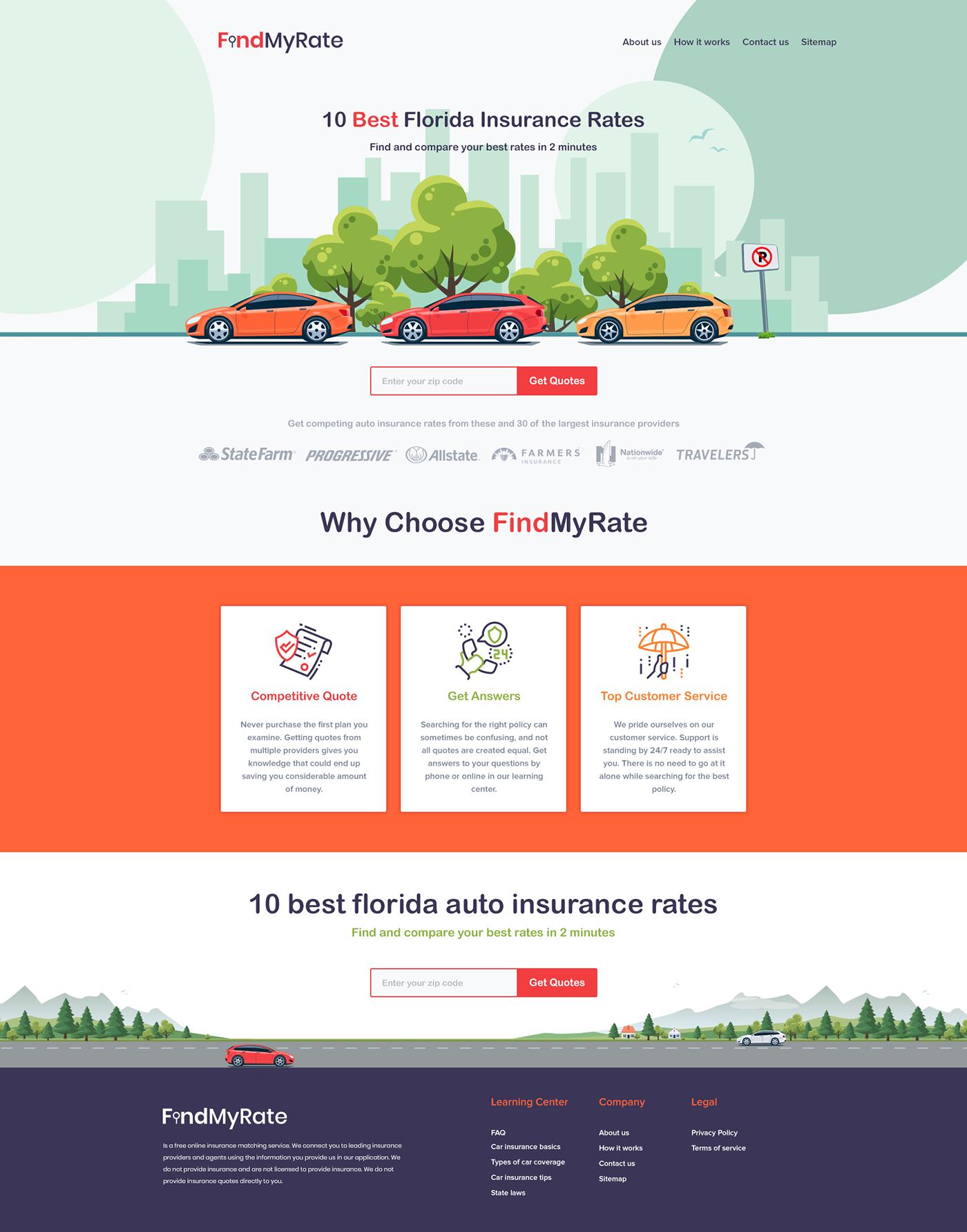 Auto Insurance cartoon style Cartoon Website insurance insurance landing page insurance website landing page design minimal landing page orange & purple