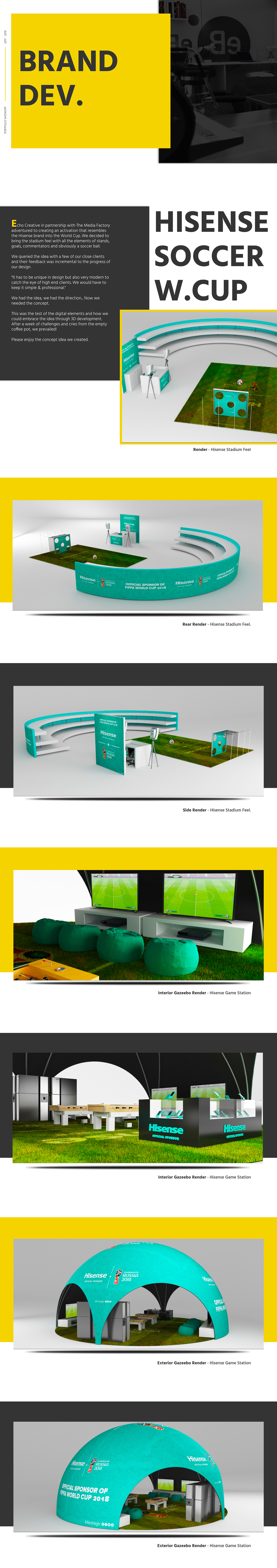 Hisense 3D graphic design  cinema 4d vray activations brand Soccer World Cup