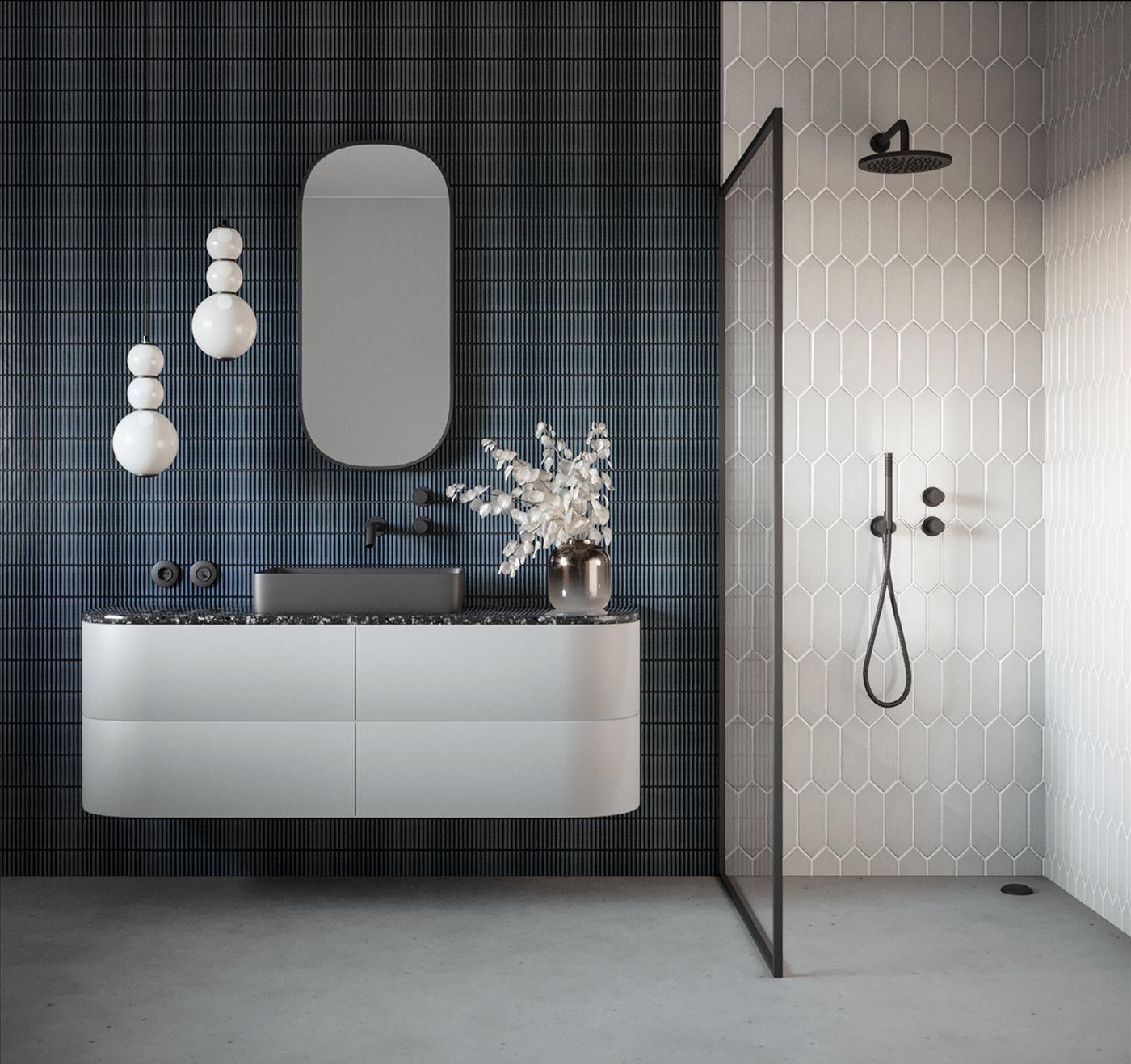 architecture bathroom Denim Interior interior design  mosaic navy tiles